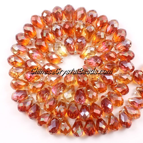 (NEW) Crystal Briolette Bead Strand, new color (5), 8x13mm, 98 beads