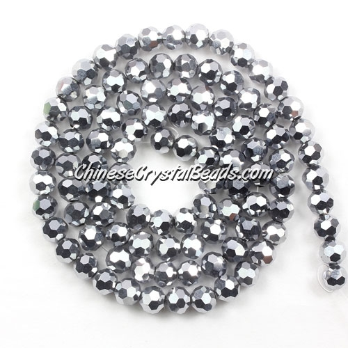 Chinese Crystal 4mm Long Round Bead Strand, Silver , about 100 beads