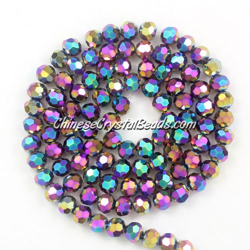 Chinese Crystal 4mm Round Long Bead Strand, Rainbow, about 100 beads