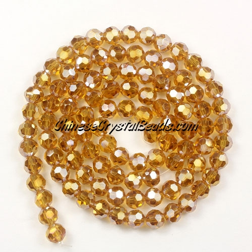 Chinese Crystal 4mm Round Bead Strand, Amber AB, about 100 beads