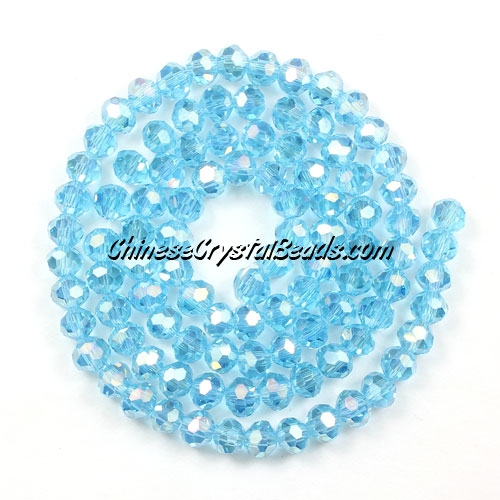 Chinese Crystal 4mm Round Bead Strand, aqua AB, about 100 beads