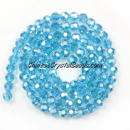 Chinese Crystal 4mm Round Bead Strand, dark aqua AB, about 100 beads