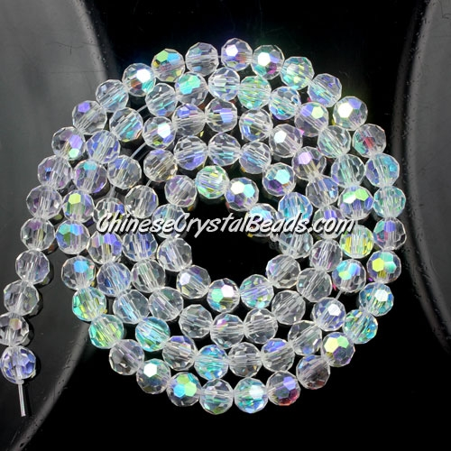 Chinese Crystal 4mm Round Bead Strand, Clear AB, about 100 beads
