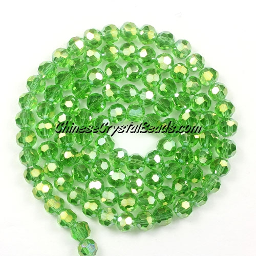 Chinese Crystal 4mm Round Bead Strand, fern green AB, about 100 beads