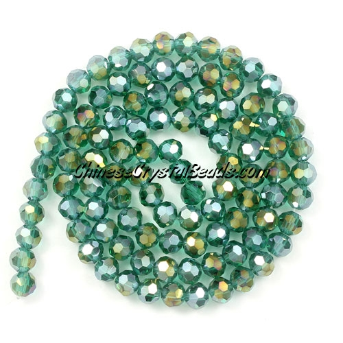 Chinese Crystal 4mm Round Bead Strand, Emerald AB, about 100 beads