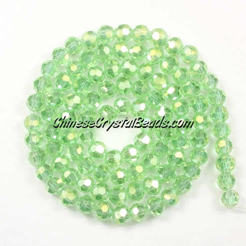 Chinese Crystal 4mm Round Bead Strand, lime green AB, about 100 beads