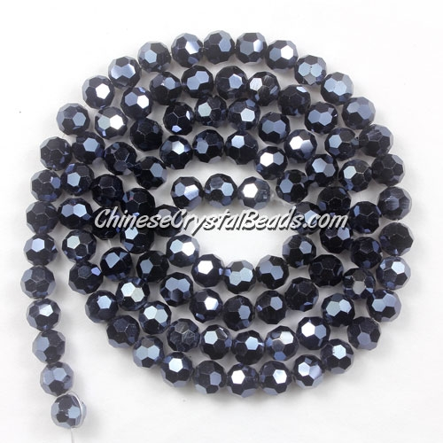 Chinese Crystal 4mm Round Bead Strand, Gun Metal, about 100 beads