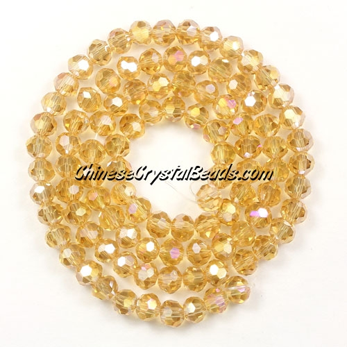 Chinese Crystal 4mm Round Bead Strand, G. champpagne AB, about 100 beads