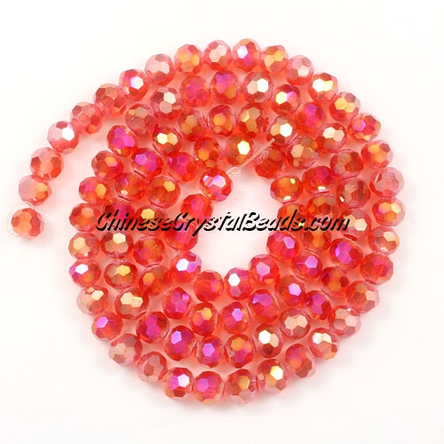 Chinese Crystal 4mm Round Bead Strand, light Siam AB, about 100 beads