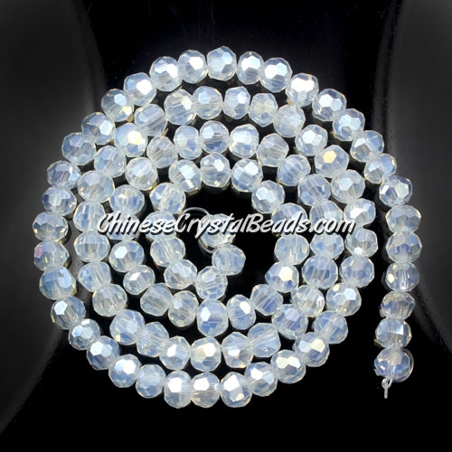 Chinese Crystal 4mm Round Bead Strand, Opal AB, about 100 beads