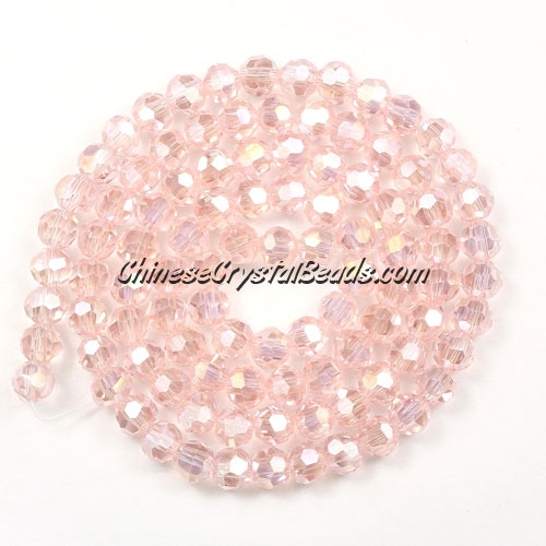 Chinese Crystal 4mm Round Bead Strand, Pink AB, about 100 beads