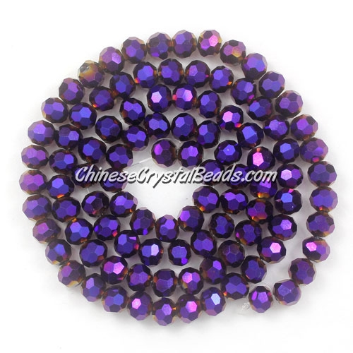 Chinese Crystal 4mm Round Bead Strand, purple light, about 100 beads