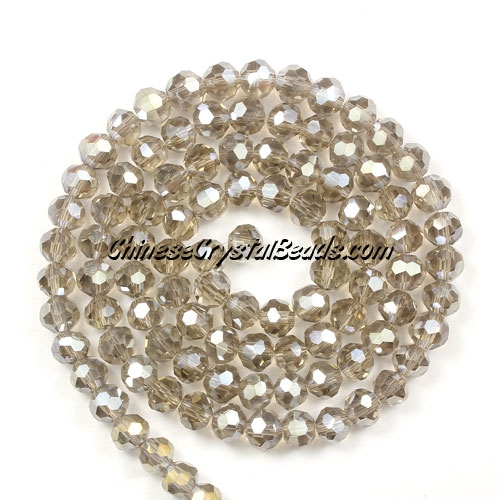 Chinese Crystal 4mm Round Bead Strand, Smoke AB, about 100 beads
