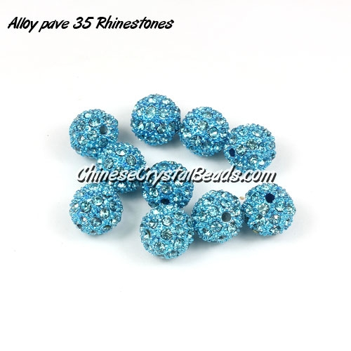 Alloy pave 35 Rhinestones disco 10mm beads , aqua, Pave, 10 pcs