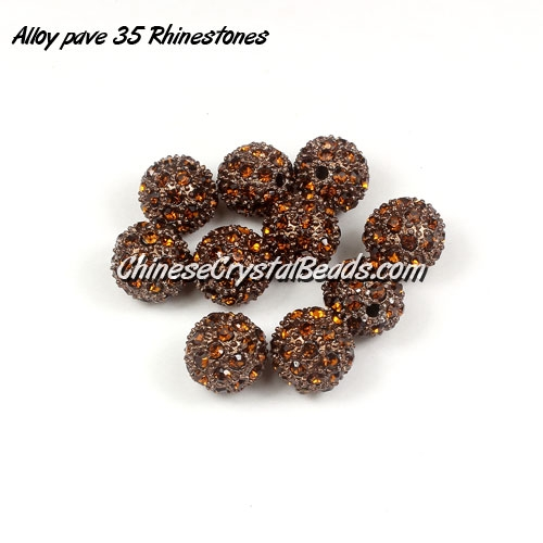 Alloy pave 35 Rhinestones disco 10mm beads , brown, Pave, 10 pcs