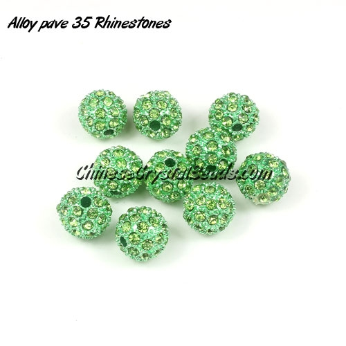 Alloy pave 35 Rhinestones disco 10mm beads , green, Pave, 10 pcs