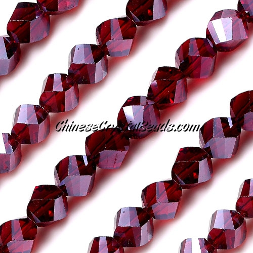 Chinese Crystal 10mm Helix Bead Strand, Siam AB , 20 beads