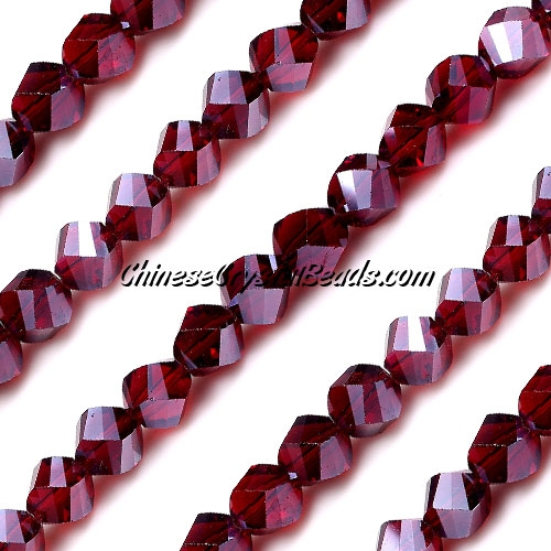 Chinese Crystal 8mm Helix Bead Strand, siam AB, 25 beads