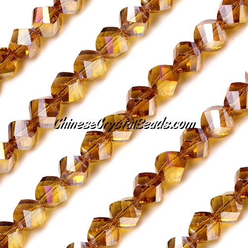 Chinese Crystal 8mm Helix Bead Strand, Amber AB, 25 beads