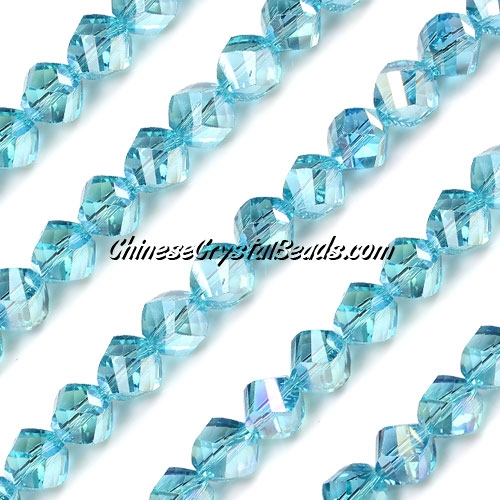 Chinese Crystal 8mm Helix Bead Strand, aqua AB, 25 beads