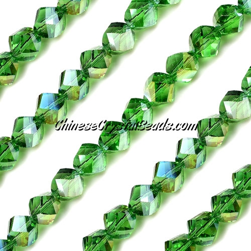 Chinese Crystal 8mm Helix Bead Strand, fern green AB, 25 beads