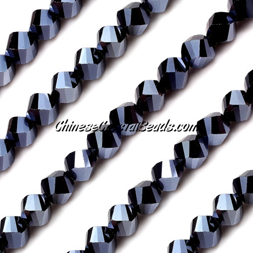 Chinese Crystal 8mm Helix Bead Strand, gun metal, 25 beads