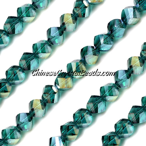 Chinese Crystal 8mm Helix Bead Strand, Emerald AB, 25 beads