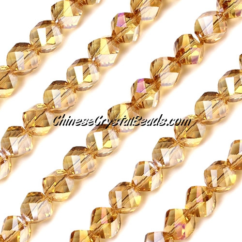 Chinese Crystal 8mm Helix Bead Strand, g champagne AB, 25 beads