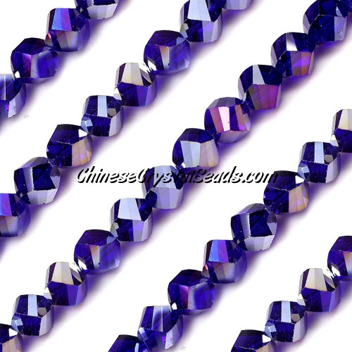 Chinese Crystal 8mm Helix Bead Strand, sapphire AB, 25 beads