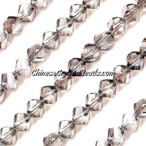 Chinese Crystal 8mm Helix Bead Strand, Silver Shade, 25 beads