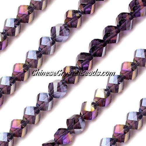 Chinese Crystal 8mm Helix Bead Strand, Violet AB, 25 beads