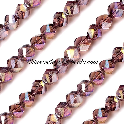 Chinese Crystal 8mm Helix Bead Strand, Amethyst AB, 25 beads