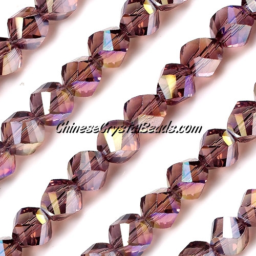 Chinese Crystal 10mm Helix Bead Strand, Amethyst AB, 20 beads