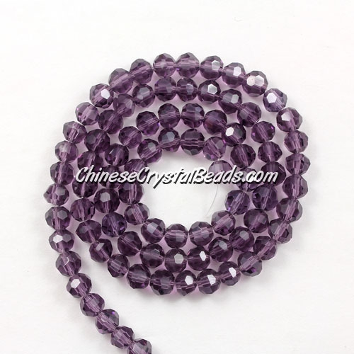 Chinese Crystal 4mm Long Round Bead Strand, Violet, about 100 beads