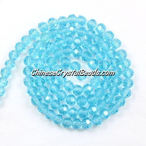 Chinese Crystal 4mm Long Round Bead Strand, aqua, about 100 beads