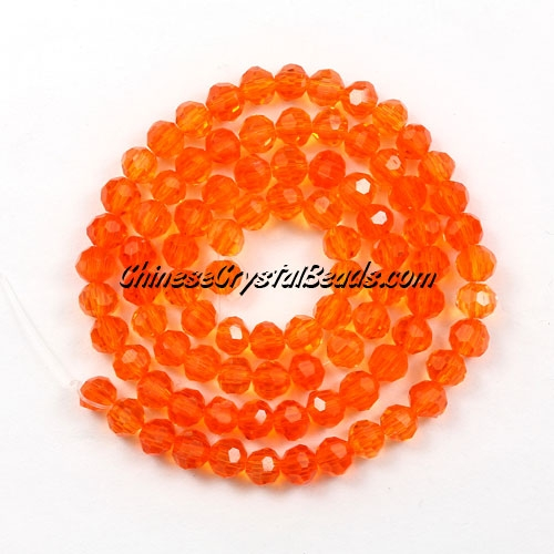 Chinese Crystal 4mm Long Round Bead Strand, tangerine, about 100 beads