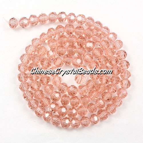 Chinese Crystal 4mm Long Round Bead Strand, rose peach, about 100 beads
