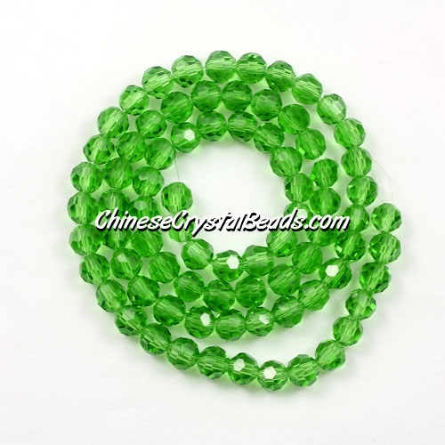 Chinese Crystal 4mm Long Round Bead Strand, fern green, about 100 beads