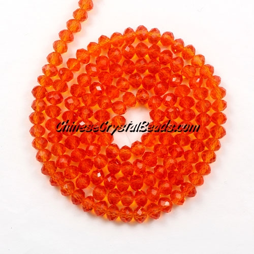 Chinese Crystal Rondelle Bead Strand, tangerine, 3x4mm , about 150 beads