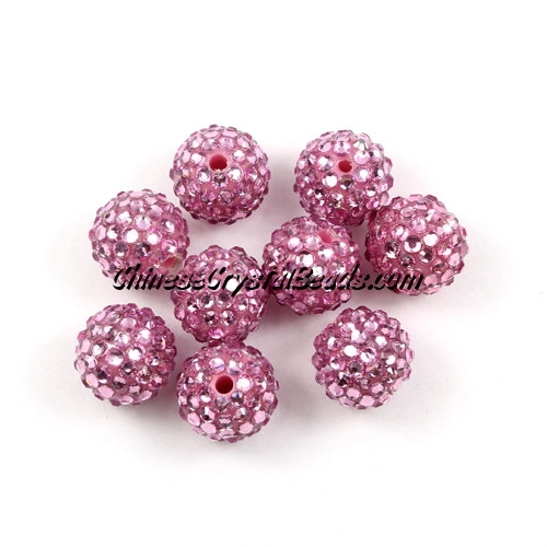 Pave disco Resin disco beads, pink, 10mm, 10 pcs