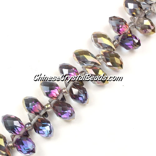 Chinese Crystal Briolette Bead Strand, copper Reflective rainbow, 6x12mm, 20 beads