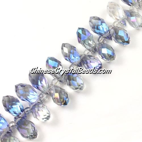 Crystal Briolette Bead Strand, crystal Reflective blue light, 6x12mm, 20 beads