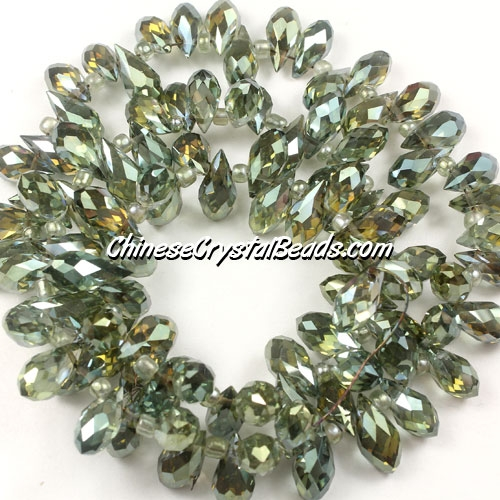 Chinese Crystal Briolette Bead Strand, crystal Reflective green light, 6x12mm, 20 beads