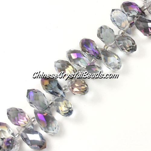 Chinese Crystal Briolette Bead Strand, crystal Reflective purple light, 6x12mm, 20 beads