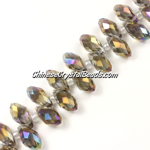 Chinese Crystal Briolette Bead Strand, smoke AB, 6x12mm, 20 beads