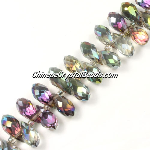 Chinese Crystal Briolette Bead Strand, green-light-Reflective-blue-light, 6x12mm, 20 beads