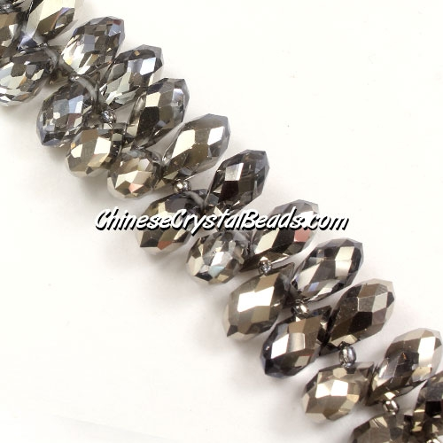 Chinese Crystal Briolette Bead Strand, Half Silver(B), 6x12mm, 20 beads