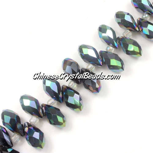 Chinese Crystal Briolette Bead Strand, Jet half green light , 6x12mm, 20 beads