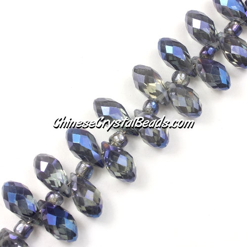 Chinese Crystal Briolette Bead Strand, Magic Blue, 6x12mm, 20 beads