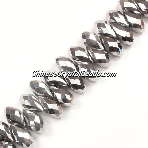 Chinese Crystal Briolette Bead Strand, Silver, 6x12mm, 20 beads